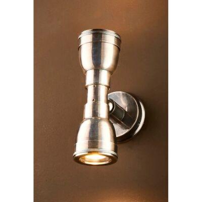 Bayport IP54 Outdoor Brass Up / Down Wall Light, Antique Silver