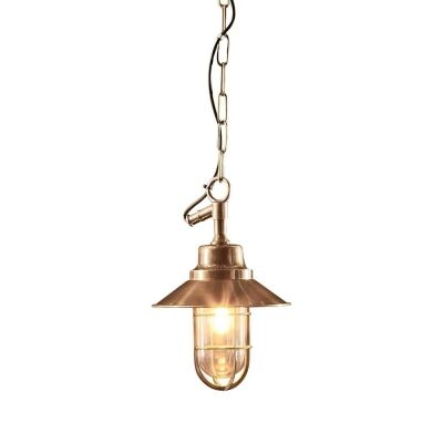 Rutherford IP54 Outdoor Metal Nautical Pendant Light, Brass