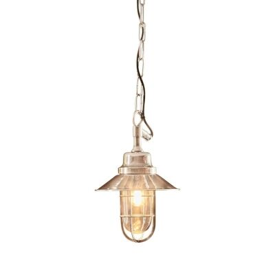 Rutherford IP54 Outdoor Metal Nautical Pendant Light, Silver