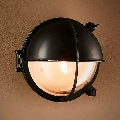 Vienna IP54 Outdoor Brass Bunker Wall Light, Black