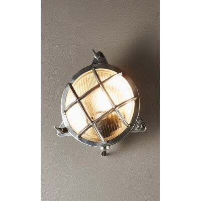 Palmerston Outdoor Metal & Glass Bunker Wall Light, Antique Silver