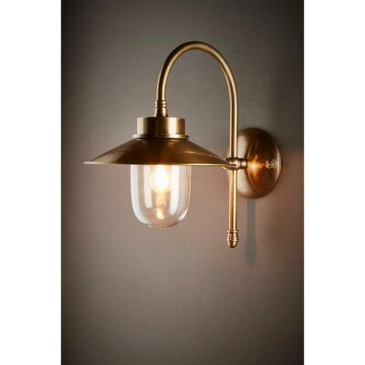 Legacy IP54 Outdoor Metal Wall Light, Antique Brass