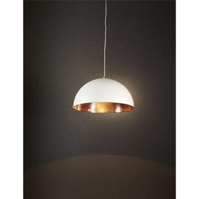Alfresco Metal Dome Pendant Light - White/Copper