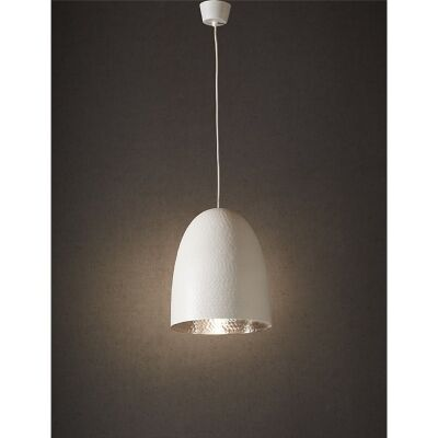 Dolce Hammered Metal Pendant Light, White/Silver