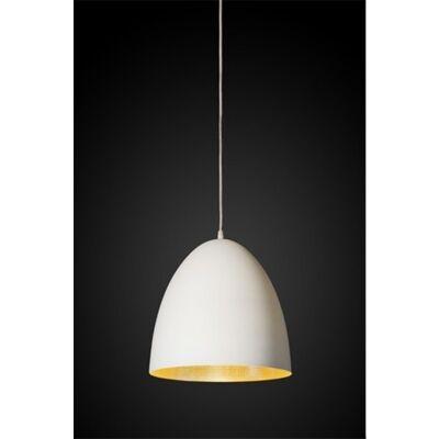 Egg Metal Pendant Light, White/Brass