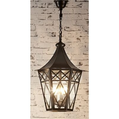 Tuscan Metal and Glass Pendant Lantern - Bronze