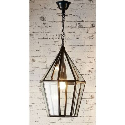 Belmont Metal and Glass Pendant Lantern - Bronze