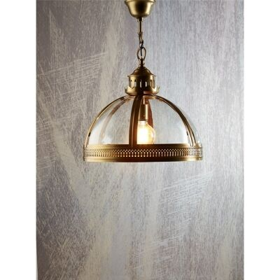 Winston Metal & Glass Pendant Light - Antique Brass