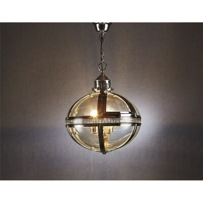 Oxford Metal & Glass Pendant Light - Silver