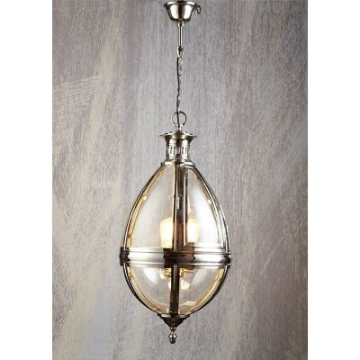 Saville Metal & Glass Pendant Light - Silver