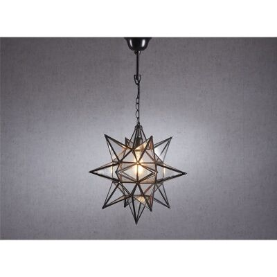 Star Large Metal & Glass Pendant Light - Bronze