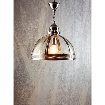 Winston Metal and Glass Pendant Light, Small, Shiny Nickel