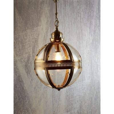 Saxon Medium Metal and Glass Globe Pendant Light - Antique Brass