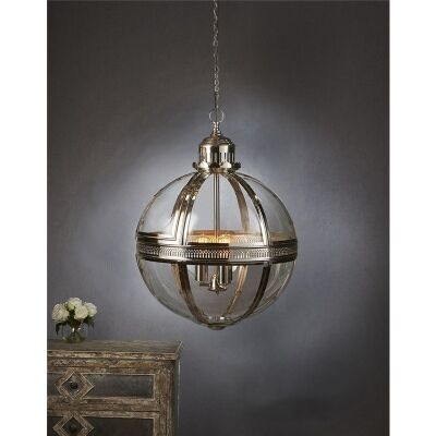 Saxon Medium Metal and Glass Globe Pendant Light - Shiny Nickel