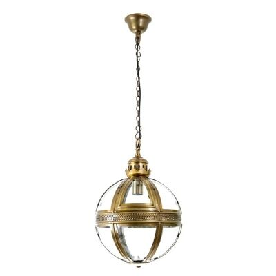 Saxon Small Metal & Glass Pendant Light - Brass