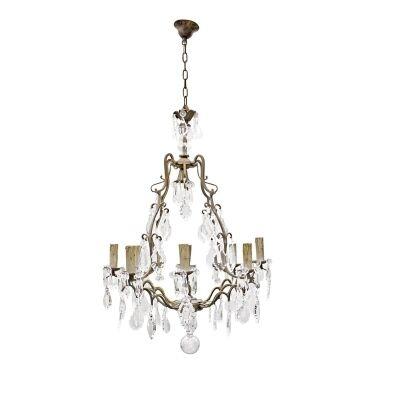 Linoges Cast Iron & Crystal Baroque Chandelier