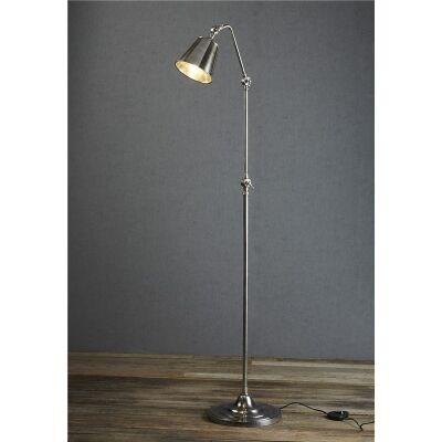 Newbury Adjustable Metal Floor Lamp, Antique Silver