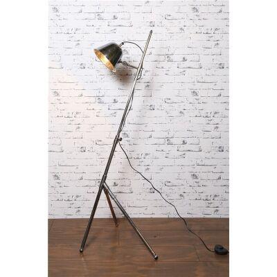 Belvidere Metal Tripod Floor Lamp - Antique Silver