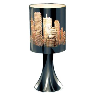 Houston City View Etched Metal Table Touch Lamp