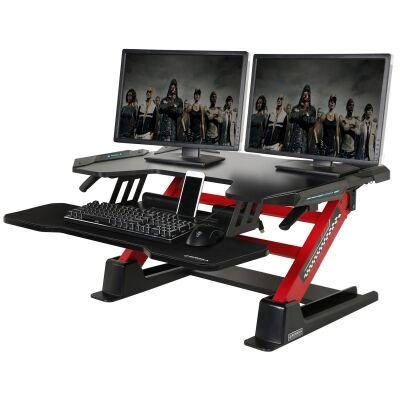 Eureka Ergonomic Adjustable Stand Up Desk Converter, Quick Sit to Stand Tabletop Riser, Black / Red