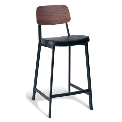 Espriit Commercial Grade Black Metal Frame Counter Stool with Black PU Seat and Walnut Veneer Back