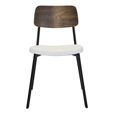 Espriit Commercial Grade Black Metal Frame Chair with White PU Seat & Walnut Veneer Back