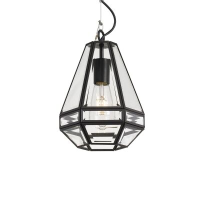 Espada Metal & Glass Pendant Light, Small, Black