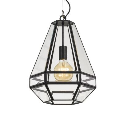 Espada Metal & Glass Pendant Light, Large, Black