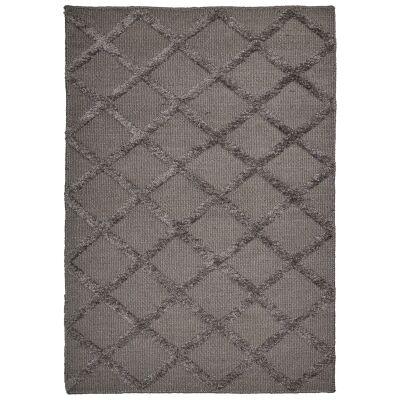 Estelle Lattice Bamboo Silk Modern Rug, 380x280cm, Grey