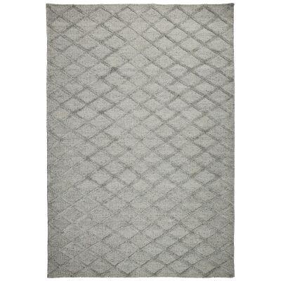 Estelle Lattice Bamboo Silk Modern Rug, 130x70cm, Silver