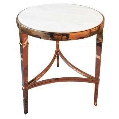 Mary Marble Topped Metal Round Side Table