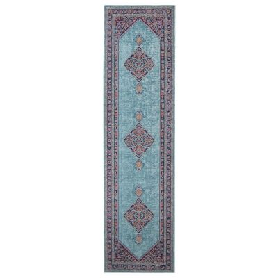 Eternal Whisper Diamond Turkish Made Oriental Runner Rug, 80x400cm, Blue
