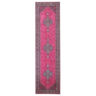 Eternal Whisper Diamond Turkish Made Oriental Runner Rug, 80x300cm, Pink
