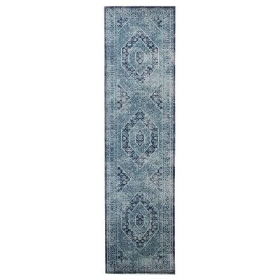 Eternal Whisper Vision Turkish Made Oriental Runner Rug, 80x400cm, Blue