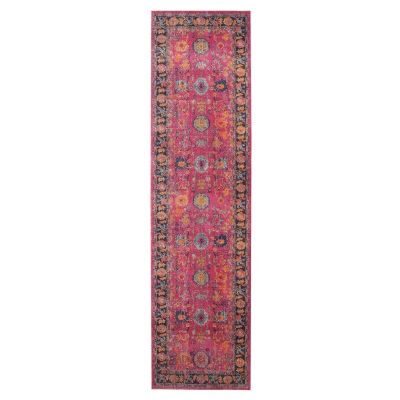 Eternal Whisper Corners Turkish Made Oriental Runner Rug, 80x400cm, Pink