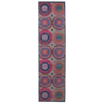 Eternal Whisper Wheels Turkish Made Oriental Runner Rug, 80x400cm, Multi