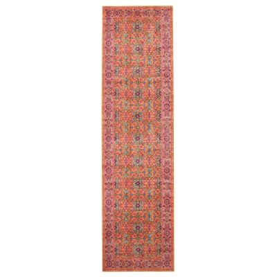 Eternal Whisper Wreath Turkish Made Oriental Runner Rug, 80x400cm, Rust