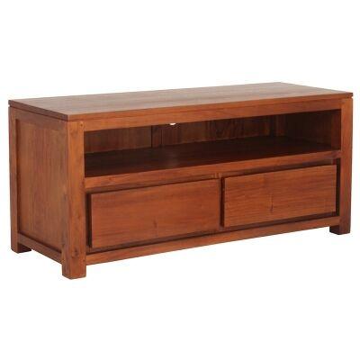Amsterdam Solid Mahogany Timber Bottom Drawer 120cm TV Unit - Light Pecan