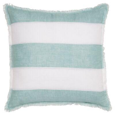 Winona Fringed Linen Euro Cushion, Striped Aqua