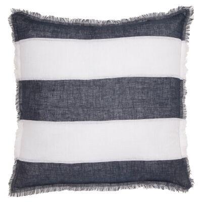 Winona Fringed Linen Euro Cushion, Striped Navy