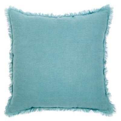Winona Fringed Linen Euro Cushion, Duck Egg
