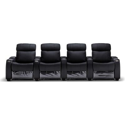 Anna Genuine Leather 4 Seater Electric Recliner Sofa, Black