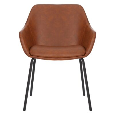 Etta Commercial Grade Faux Leather Dining Armchair, Tan