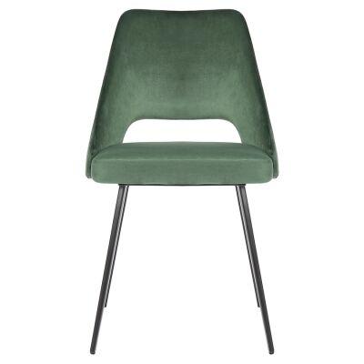 Eva Commercial Grade Velvet Fabric Dining Chair, Green