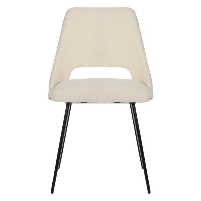 Eva Commercial Grade Boucle Fabric Dining Chair, White