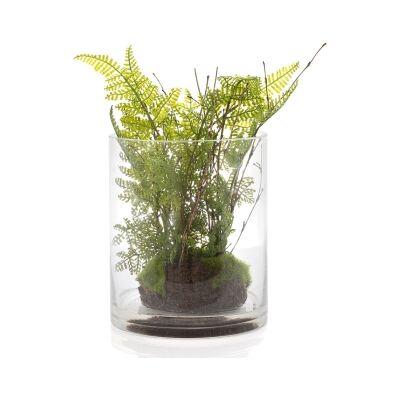 Bobby Artificial Fern in Glass Vase