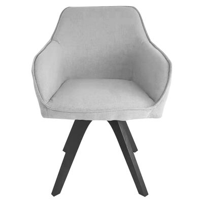 Fabio Linen Fabric Dining Armchair, Grey