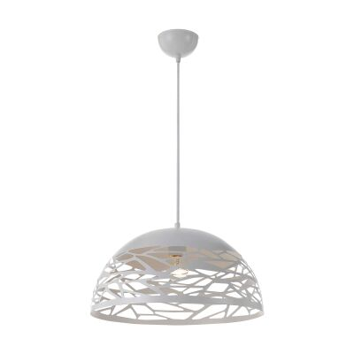 Farina Metal Dome Pendant Light, Small, White