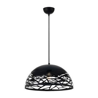 Farina Metal Dome Pendant Light, Large, Black