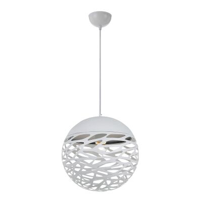 Farina Metal Ball Pendant Light, Small, White